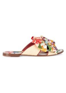 Dolce & Gabbana Embellished Floral-Print & Raffia Flat Sandals