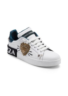 Dolce & Gabbana Embellished Heart Classic Leather Sneakers