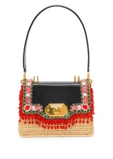 Dolce & Gabbana Embellished Leather Basket Weave Top Handle Bag