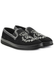 Dolce & Gabbana Embellished Leather Slip-Ons