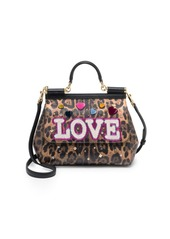 Dolce & Gabbana Embellished Leopard-Print Leather Top-Handle Bag