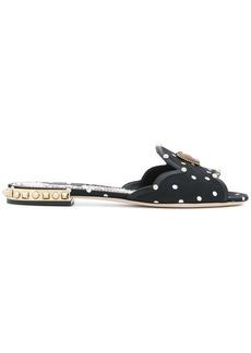 Dolce & Gabbana embellished polka dot slippers
