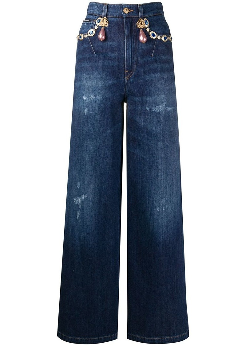 Dolce & Gabbana embellished wide-leg jeans