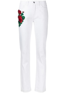 Dolce & Gabbana embroidered flowers skinny-fit jeans