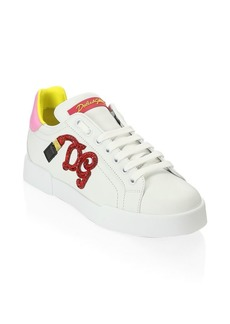Dolce & Gabbana Embroidered Leather Sneakers
