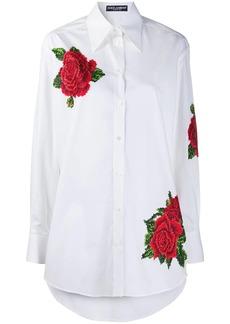 Dolce & Gabbana rose-embroidered cotton poplin shirt