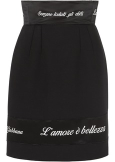 Dolce & Gabbana Embroidered Satin-trimmed Cady Pencil Skirt