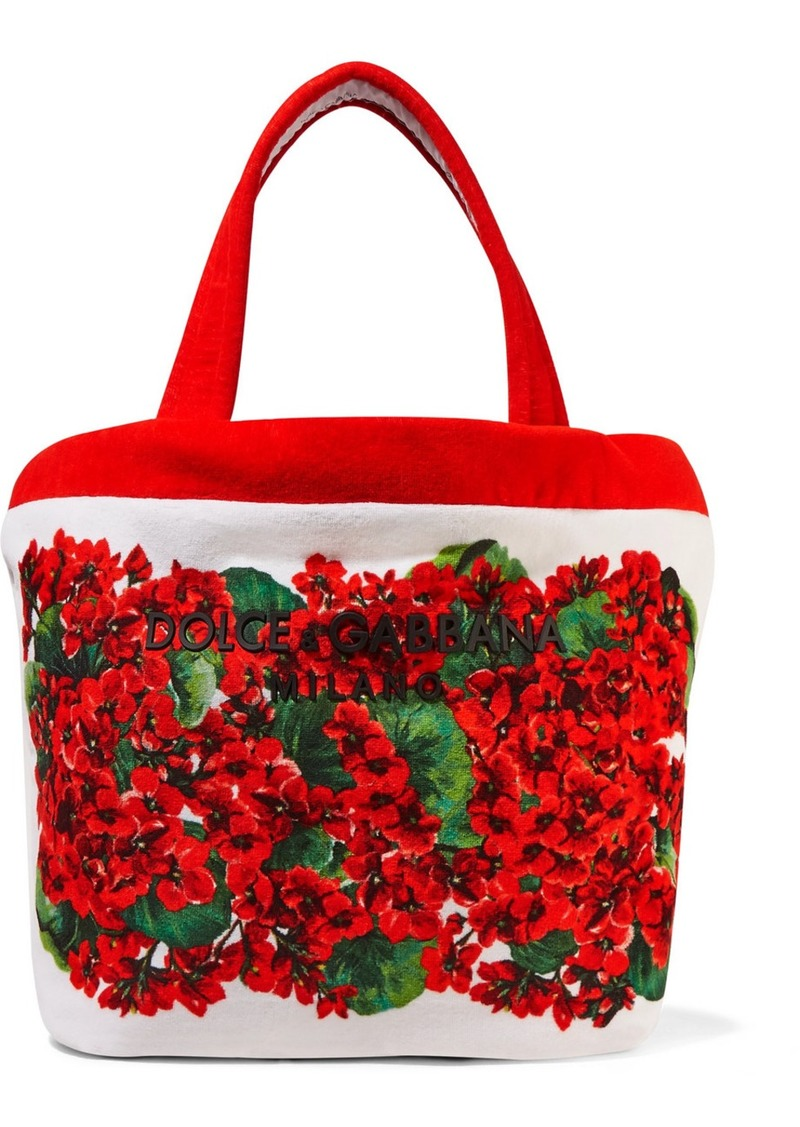Dolce & Gabbana Escape Portofino Floral-print Cotton-blend Terry Tote