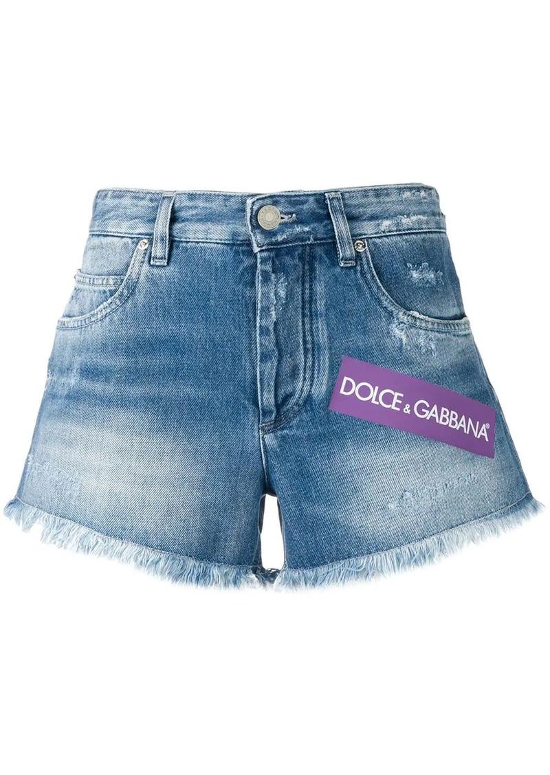 Dolce & Gabbana faded denim logo shorts