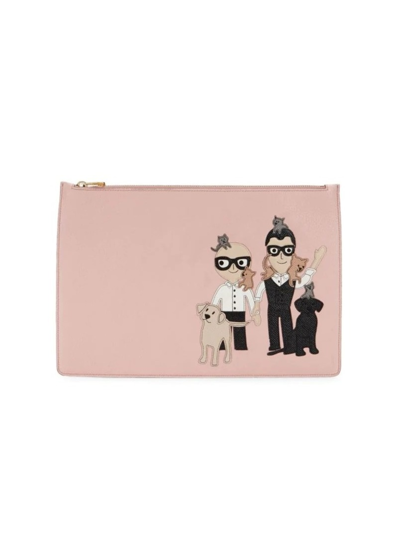 Dolce & Gabbana Family Patch Leather Pouch