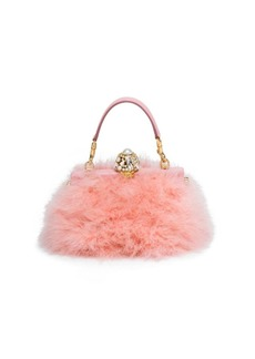 Dolce & Gabbana Feather & Crystal Top Handle Bag