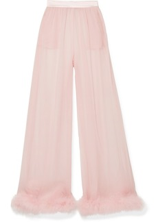 Dolce & Gabbana Feather And Satin-trimmed Silk-chiffon Wide-leg Pants