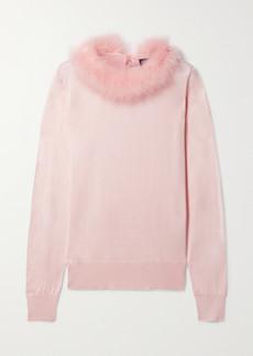 Dolce & Gabbana Feather-trimmed Silk Sweater