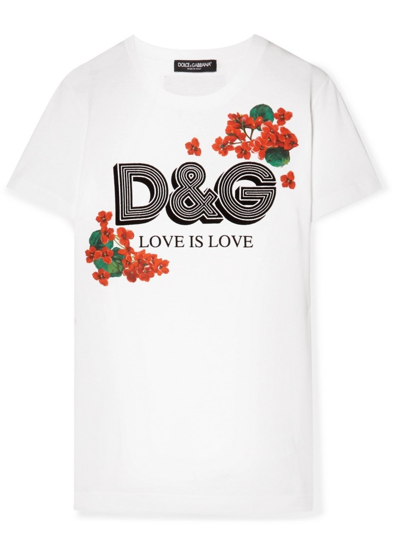 Dolce & Gabbana Flocked Floral-print Cotton-jersey T-shirt