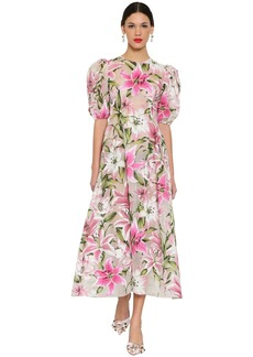 Dolce & Gabbana Flocked Organza Midi Dress