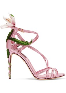 Dolce & Gabbana Floral-appliquéd Metallic Leather Sandals