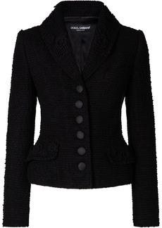 Dolce & Gabbana floral-embellished bouclé jacket