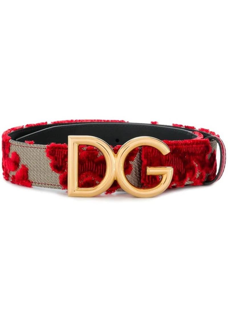 Dolce & Gabbana floral embroidered logo belt