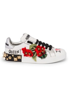 Dolce & Gabbana Floral Graffiti Leather Sneakers