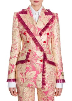 Dolce & Gabbana Floral Jacquard Tulle Trim Jacket