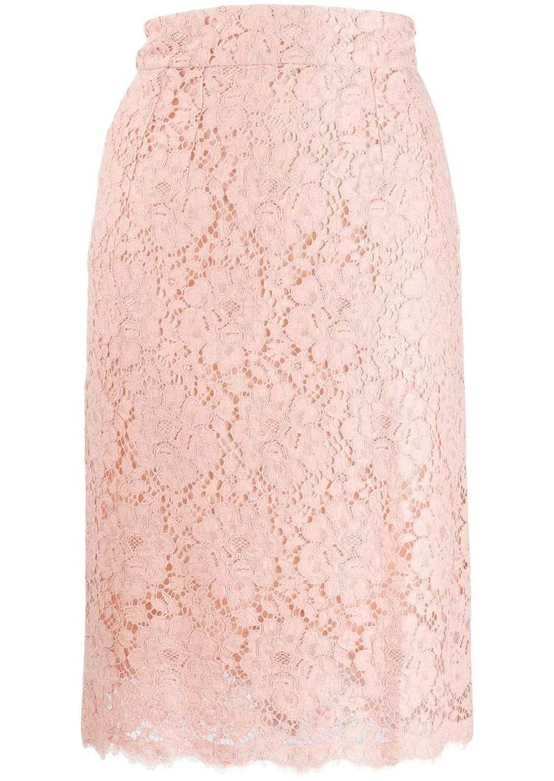 Dolce & Gabbana floral lace pencil skirt