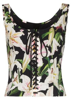 Dolce & Gabbana floral lace-up bustier top