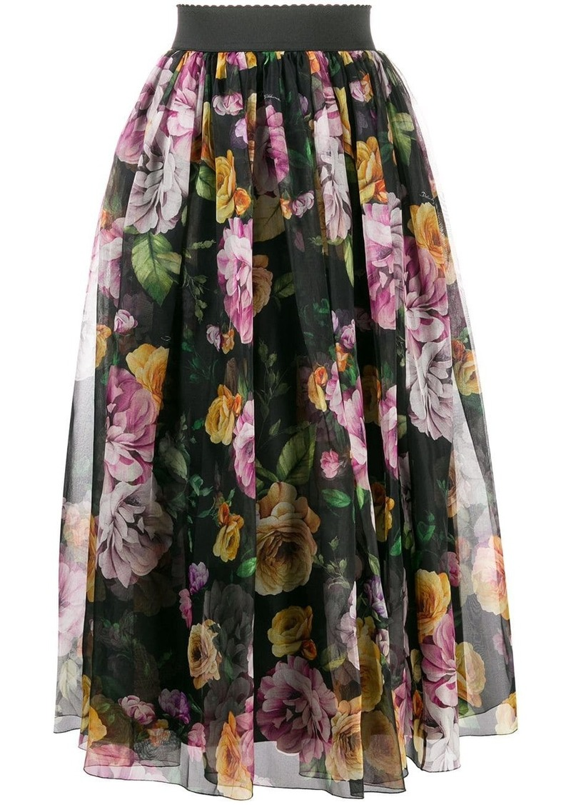 Dolce & Gabbana floral layered ruched skirt