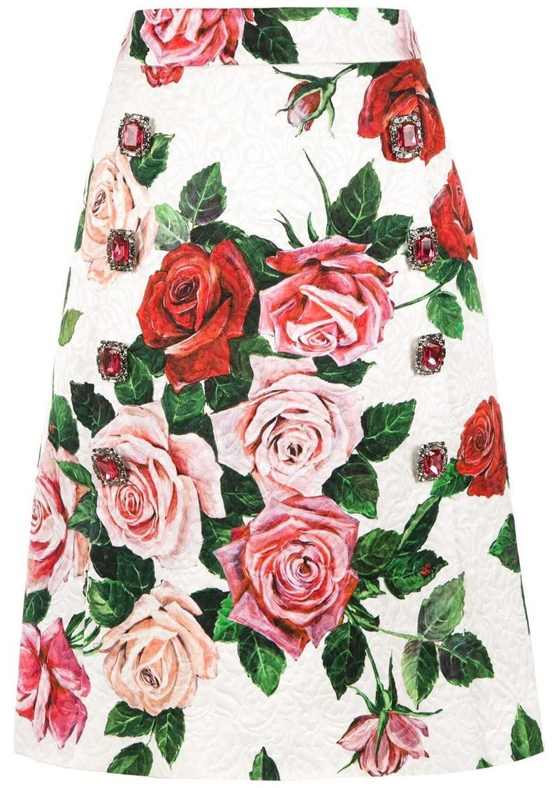 Dolce & Gabbana floral print brocade skirt
