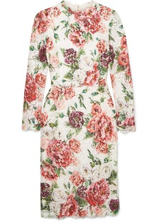 Dolce & Gabbana Floral-print Corded Lace Midi Dress