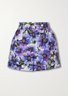 Dolce & Gabbana Floral-print Cotton And Silk-blend Twill Shorts