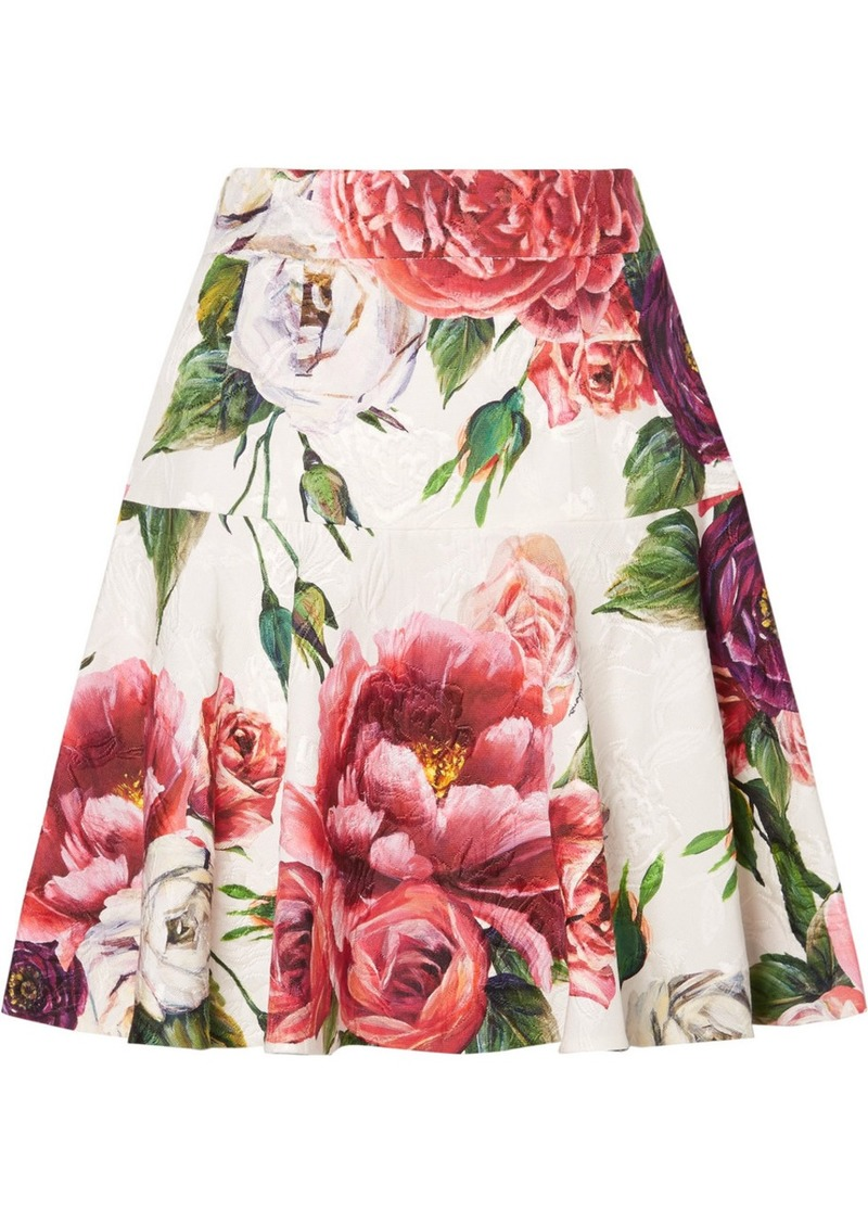 Dolce & Gabbana Floral-print Cotton-blend Jacquard Mini Skirt