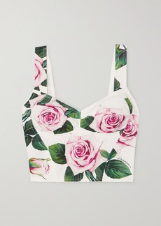 Dolce & Gabbana Floral-print Cotton-blend Poplin Bustier Top