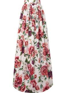 Dolce & Gabbana Floral-print Cotton-poplin Maxi Skirt
