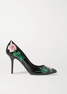Dolce & Gabbana Floral-print Leather Pumps