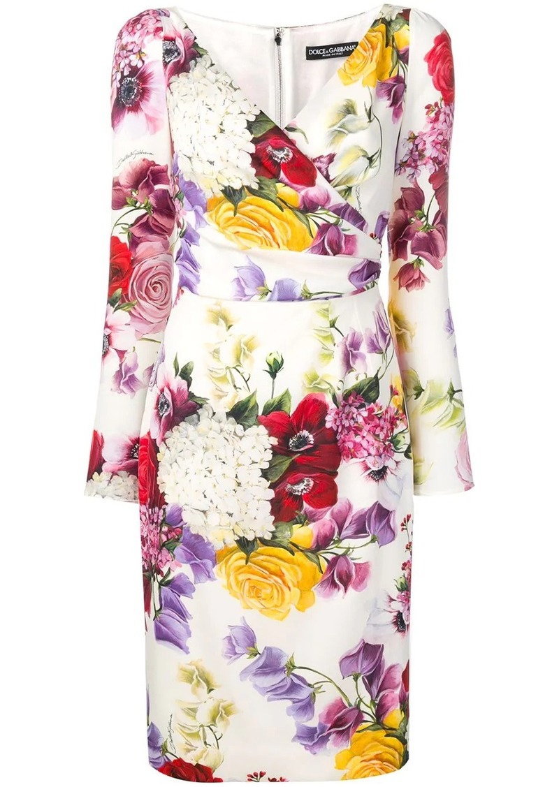 Dolce & Gabbana floral print long-sleeve dress
