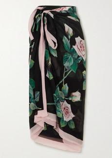 Dolce & Gabbana Floral-print Silk-crepon Pareo