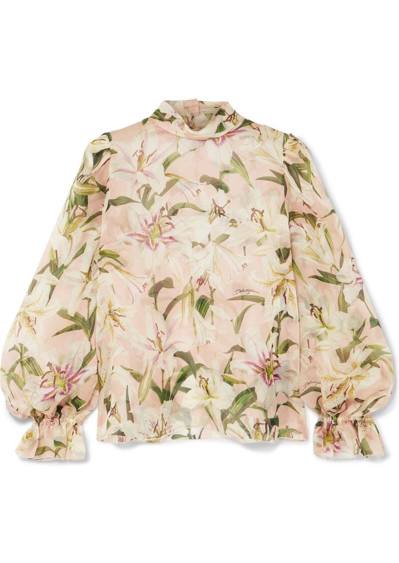Dolce & Gabbana Floral-print Silk-organza Blouse