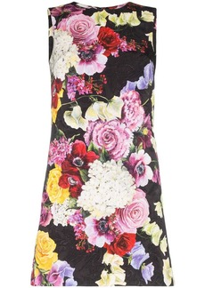 Dolce & Gabbana Floral print sleeveless cotton blend shift dress
