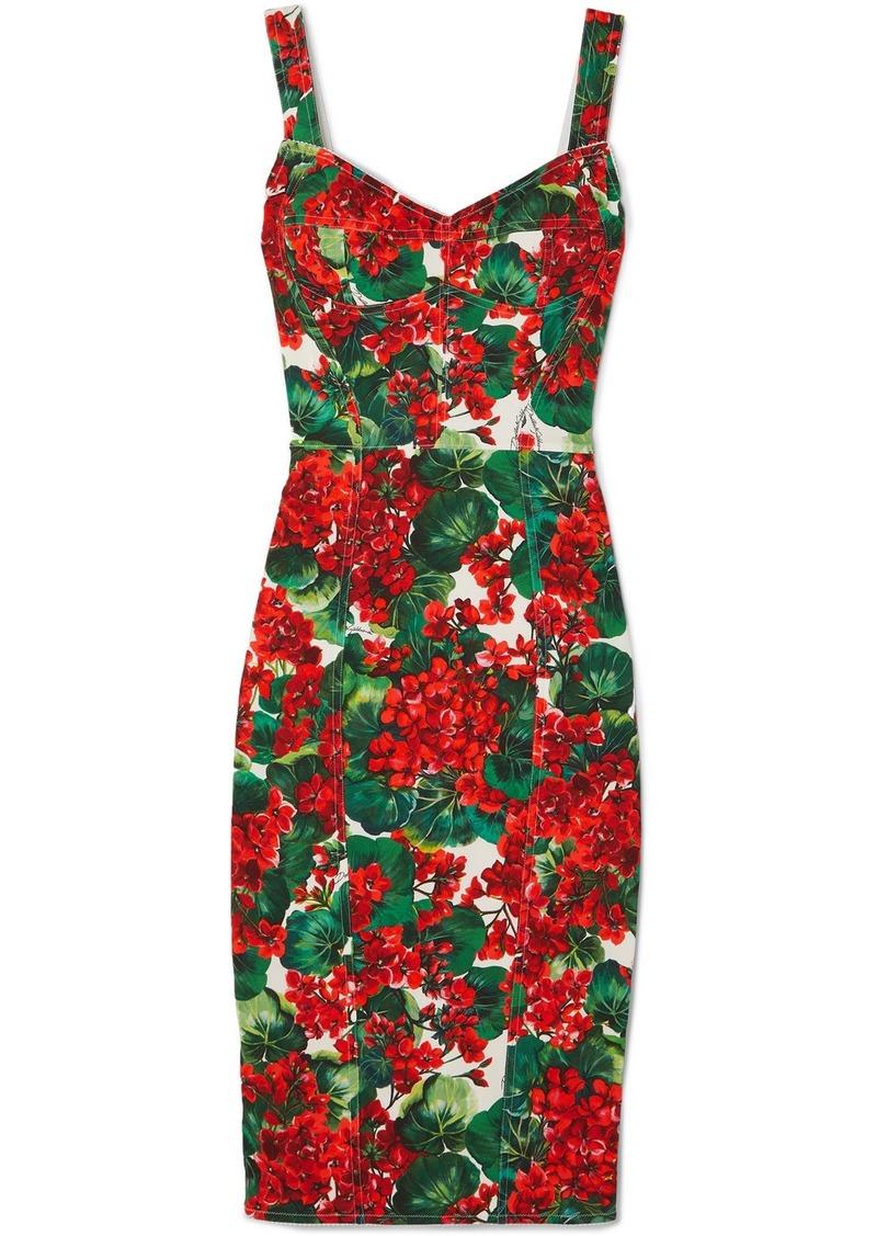 Dolce & Gabbana Floral-print Stretch-cady Dress
