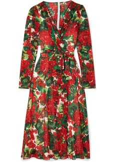 Dolce & Gabbana Floral-print Stretch-silk Chiffon Wrap Dress