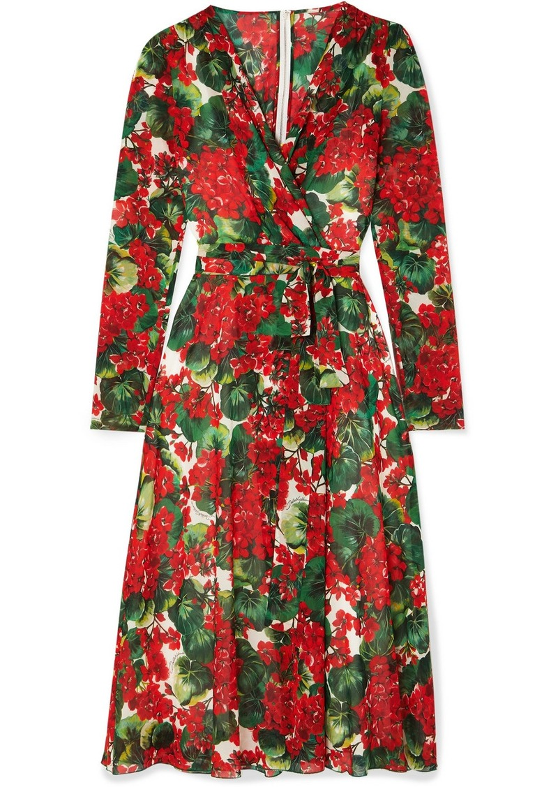 Dolce & Gabbana Floral-print Stretch-silk Chiffon Wrap Dress