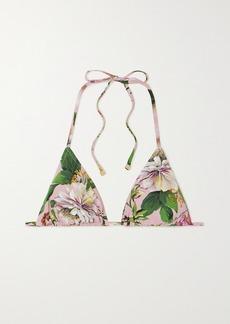 Dolce & Gabbana Floral-print Triangle Bikini Top