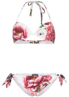 Dolce & Gabbana Floral-printed triangle bikini set