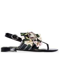 Dolce & Gabbana floral-ribbon flat sandals