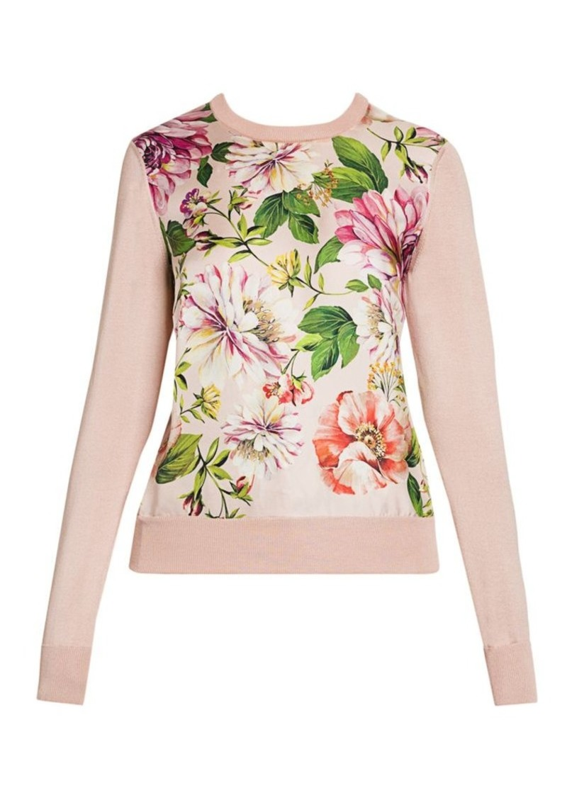 Dolce & Gabbana Floral Silk Knit Sweater