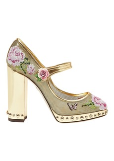 Floral Stitch Gold Mary Jane Pumps
