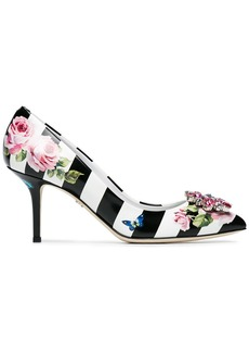 Dolce & Gabbana floral Stripe 60 Leather pumps