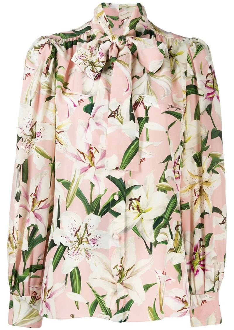 Dolce & Gabbana floral tie neck blouse
