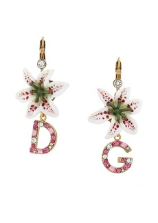Dolce & Gabbana flower and logo pendant earrings