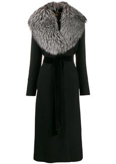 Dolce & Gabbana fur collar belted coat